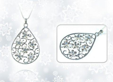 SZÁZSZORSZÉP nyaklánc Swarovski Elements kristályokkal - fehér