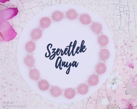 SZERETET - Anyák Napi köszönet karkötő rózsakvarccal
