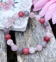 FEMME FATALE rózsakvarc, jáde, rubellit, hegyikristály ásványkarkötő