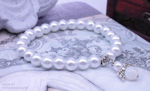 Holdkő VÉDŐANGYAL karkötő fehér színű teklagyöngyökkel