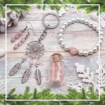 SZERETET ÉS SZERELEM rózsakvarc ajándékcsomag (4 részes)