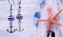 NAVY BLUE fülbevaló nemesacél alappal