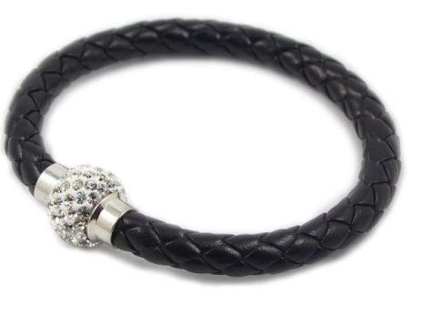 Fonott Shamballa karkötő - fekete