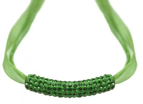 MAGIC SHAMBALLA nyaklánc organza szalagon - zöld