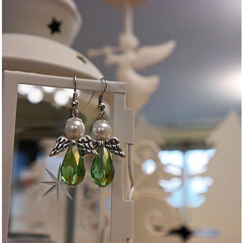 Angyalkás fülbevaló, zöld