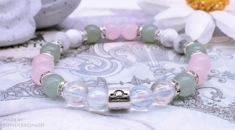 MÉRLEG horoszkópos karkötő jáde, angyal aura, rózsakvarc, howlit ásványokból