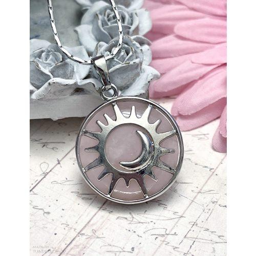 Rózsakvarc Nap és Hold medál (lánccal is kérhető)
