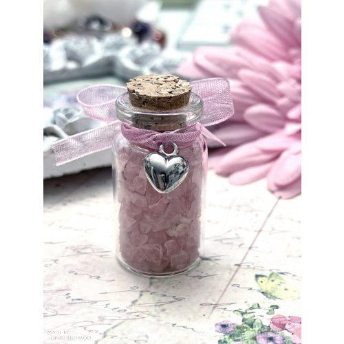 EGY ÜVEGNYI SZERETET - rózsakvarc ásványsplitteres fiola