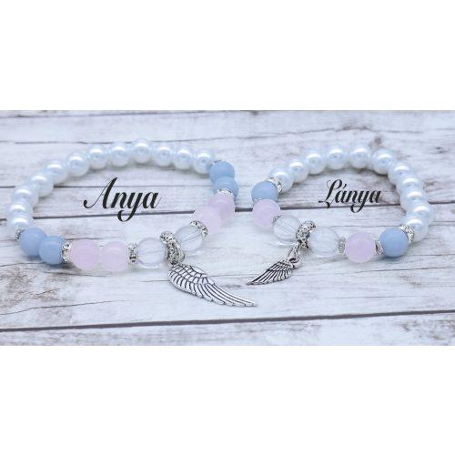 ANGYALI ÜZENET angelit / rózsakvarc / hegyikristály és teklagyöngy Anya-Lánya karkötő szett