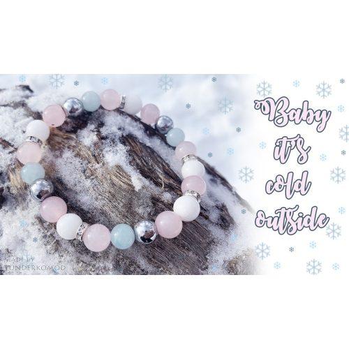 BABY IT'S COLD OUTSIDE rózsakvarc / akvamarin / hematit/ jáde ásványkarkötő