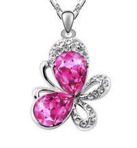 Pillangó nyaklánc ausztriai kristállyal - pink