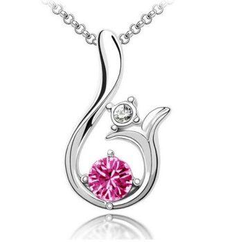 Lilly nyaklánc ausztriai kristállyal - rózsaszín
