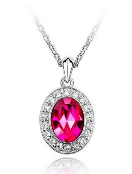 Lotti nyaklánc ausztriai kristállyal - pink