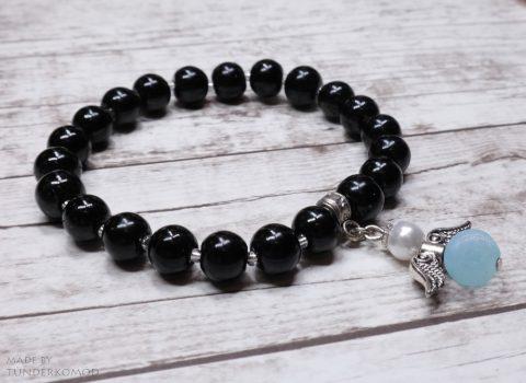 Akvamarin VÉDŐANGYAL karkötő fekete színű teklagyöngyökkel
