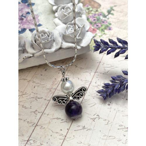 A NYUGALOM ANGYALA - ametiszt angyalka nyaklánc