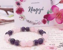LILA HAJNAL - Anyák Napi köszönet karkötő rózsakvarccal és ametiszttel, meglepetéscsomagban