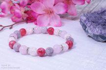 FEMME FATALE rózsakvarc, jáde, rubellit, hegyikristály ásványkarkötő, Anyák Napi meglepetéscsomagban