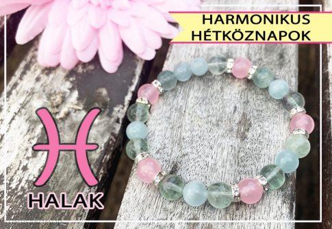 HARMONIKUS HÉTKÖZNAPOK - akvamarin, fluorit és rózsakvarc ásványkarkötő Halaknak