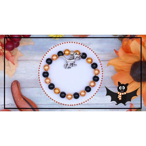MÁGIKA, a boszorkány macskája teklagyöngy karkötő Halloweenra