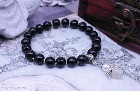 Holdkő VÉDŐANGYAL karkötő fekete színű teklagyöngyökkel