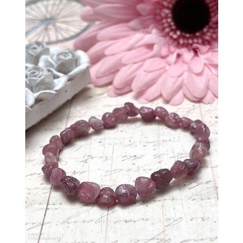 Pink turmalin (rubellit) pebble ásványkarkötő