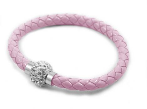 Fonott Shamballa karkötő - rózsaszín