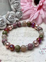 ŐSZI ÉRZÉKEK ásványkarkötő (holdkő, karneol, unakit, rosegold hematit, rodonit)