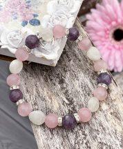 Lepidolit, rózsakvarc, holdkő ásványkarkötő