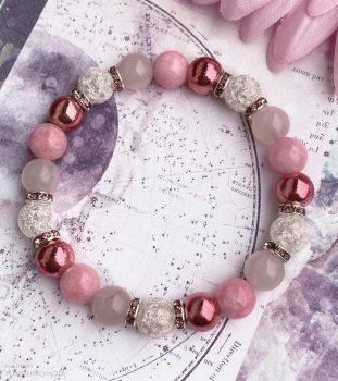 NAGYON RÓZSASZÍN :) rózsakvarc, rodokrozit jáde, pink hematit és halványrózsaszín roppantott hegyikristály karkötő