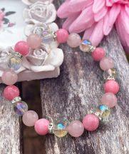 AZ ÉLET APRÓ ÖRÖMEI angyal aura, rózsakvarc és rózsaszín jáde ásványkarkötő